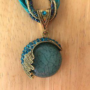 Jewelry - Art Deco Retro Necklace Crystals Ocean Waves Retro